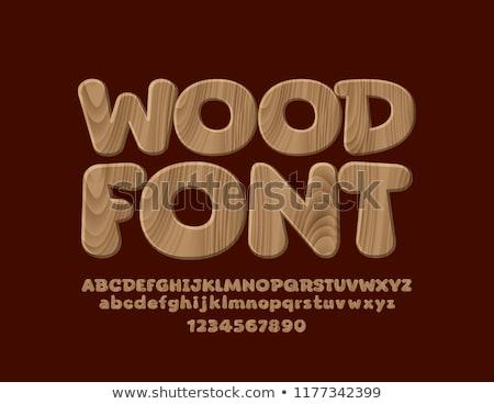 fából · készült · betűtípusok · illusztráció · levelek · fehér · textúra - stock fotó © Fyuriy