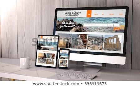 Web sitesi parmak dokunmak ekran görüntü Stok fotoğraf © silent47