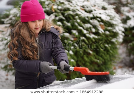 Woman Removing Snow From Car 8 Stock photo © saje