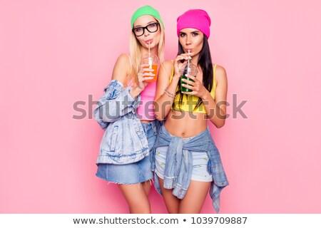 Dżinsy blond bikini dziewczyna sexy moda Zdjęcia stock © dolgachov