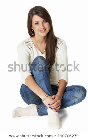 mooie · kaukasisch · meisje · vloer · geïsoleerd - stockfoto © stockyimages