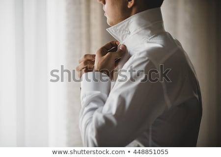 férfi · gombok · póló · üzletember · vőlegény · reggel - stock fotó © meinzahn