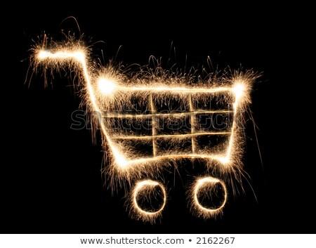 Bevásárlókocsi csillagszóró fekete arany piac tűzijáték Stock fotó © Paha_L