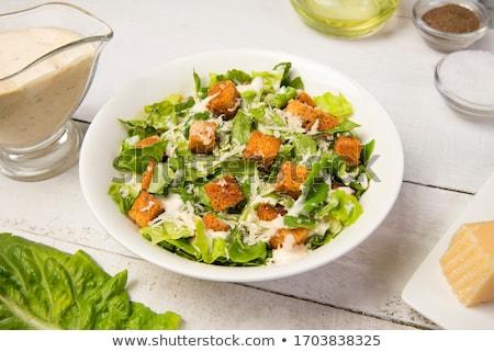 Beyaz plaka gıda yaprak akşam yemeği Stok fotoğraf © Kheat