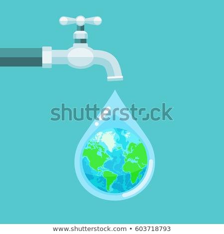 Földgömb csap csatolva fehér víz Föld Stock fotó © idesign