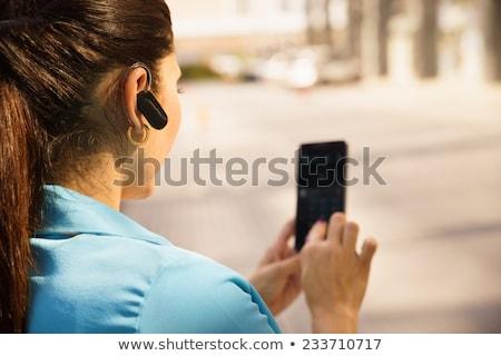 Bluetooth auricular coche teléfono móvil aislado blanco Foto stock © ABBPhoto