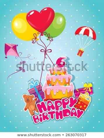 doğum · günü · tebrik · kartı · oyuncak · ayı · büyük · hediye · kutusu · gülümseme - stok fotoğraf © balasoiu