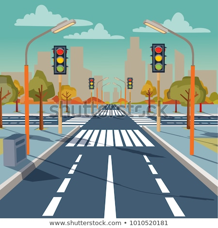 Crosswalk with building on road Stock photo © zzve