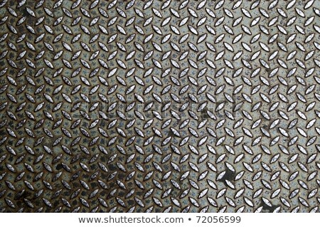 Stock photo: old metal diamond plate in brown color