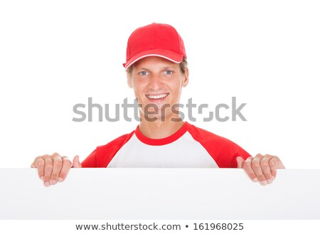 Foto stock: Jugador · de · béisbol · cartel · blanco · hombre · feliz