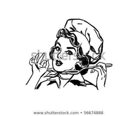 Hölgy szakács retro illusztráció vektor formátum Stock fotó © balasoiu