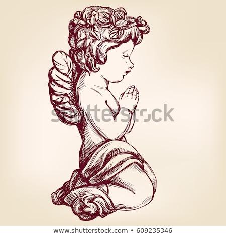 aanbiddelijk · meisje · bidden · geïsoleerd · handen - stockfoto © elisanth