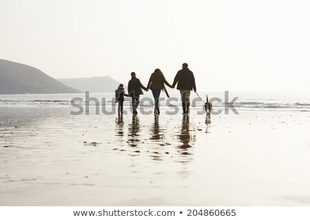 Family Walking Along Winter Beach Stock photo © monkey_business