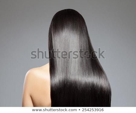 textura · preto · brilhante · cabelos · lisos · saudável · macio - foto stock © elisanth