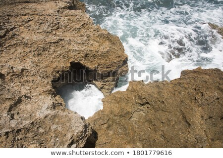 Zwembad ruw kalksteen wal rock horizon Stockfoto © Mps197