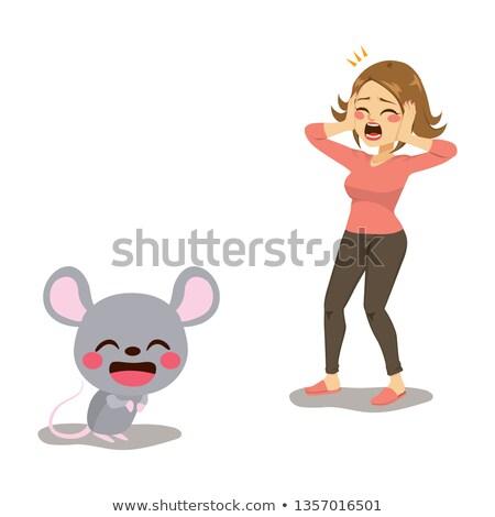 Frightened woman screams Stock photo © Pavlyuk