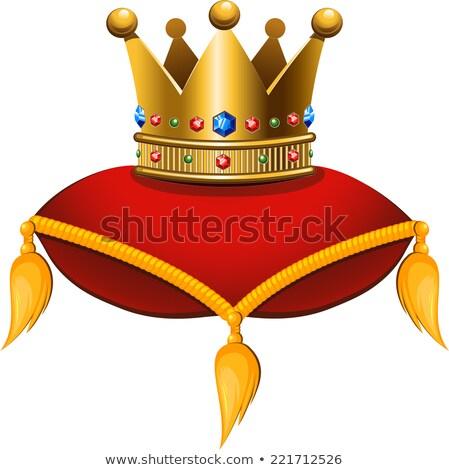 Gold Crown On A Crimson Cushion Foto d'archivio © jara3000