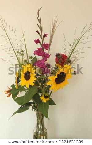 подсолнухи · ваза · букет · желтый · металл · цветы - Сток-фото © neirfy