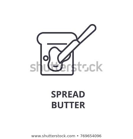 white bread toast icon with butter stock photo © aliaksandra
