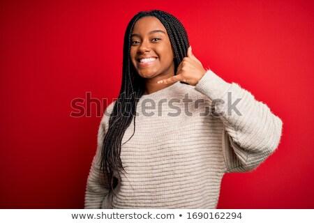 belo · feliz · mulher · jovem · assinar - foto stock © stockyimages