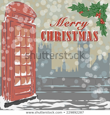 Stockfoto: New Year And Merry Christmas Card With Clock And Winter City Vector Illustration