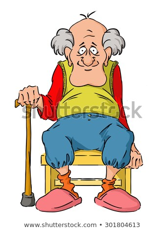 Nice elderly Grandpa is sitting on a small stool. Stock photo © Norberthos