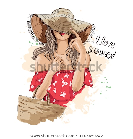 young girl holds a red hat on her head stock photo © maros_b