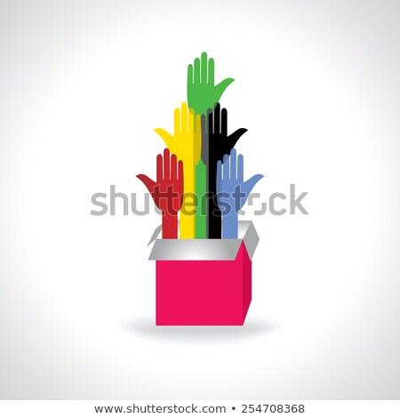 Coloré aider mains boîte main résumé Photo stock © vgarts