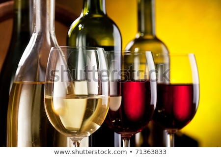 Stockfoto: Still Life With Wine Bottles Glasses And Oak Barrels