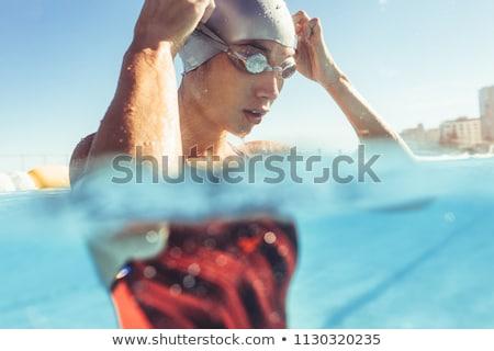 サウナ · プール · 表示 · 若い女性 - ストックフォト © dolgachov