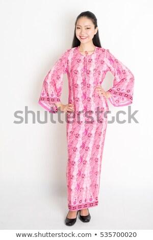 délkelet · ázsiai · lány · ruha · mosolyog · portré - stock fotó © szefei