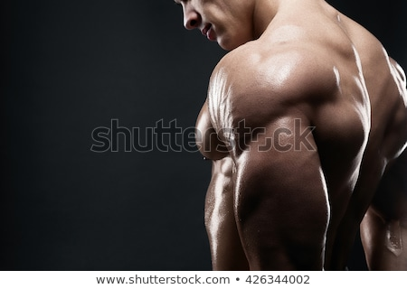 modelo · masculino · de · volta · musculação · bíceps · músculos - foto stock © restyler