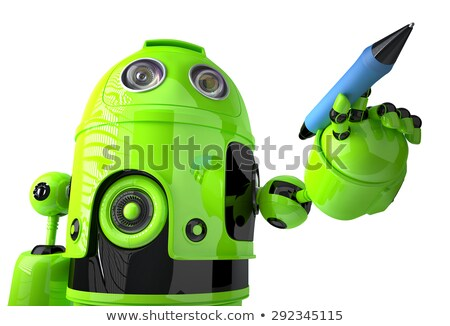 cute green robot writing with a pen isolated on white contains clipping path stock photo © kirill_m