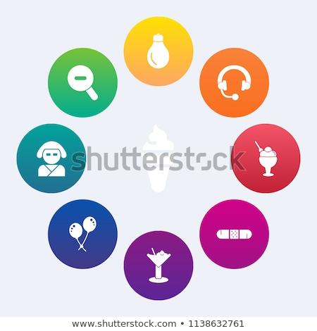 Stock photo: Set of beautiful minimal vector graphic icons of music equipment