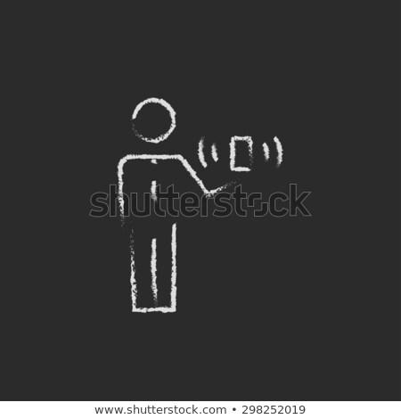 Człowiek bezprzewodowej sygnał kredy Zdjęcia stock © RAStudio