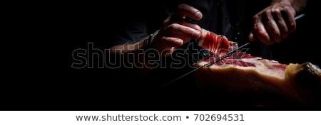 Bacak İspanyolca serrano kuru jambon beyaz Stok fotoğraf © nito