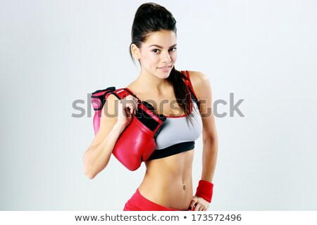 the beautiful boxer girl with the red gloves stock photo © master1305