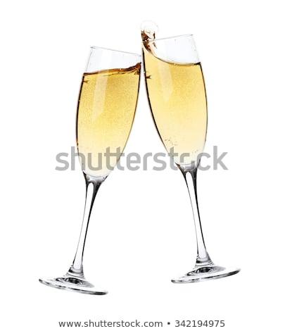 Zdjęcia stock: Dwa · szampana · okulary · noc · śniegu · strony