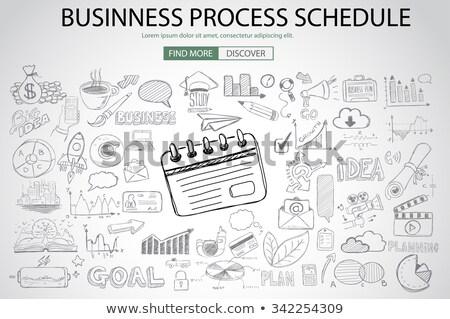 reunión · de · negocios · moderna · línea · diseno · estilo · ilustración - foto stock © davidarts