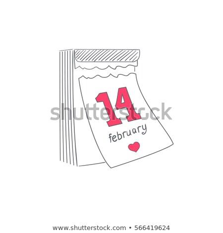 Stock fotó: February 14 Valentines Day Tear Off Calendar