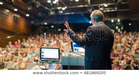 spreker · vragen · publiek · business · conferentie · vergadering - stockfoto © deandrobot