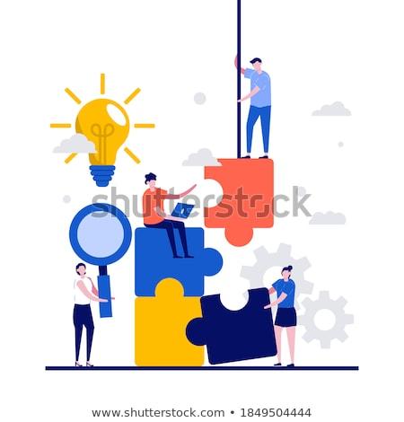 vier · puzzelstukjes · geschikt · samen · verschillend · gekleurd - stockfoto © lightsource