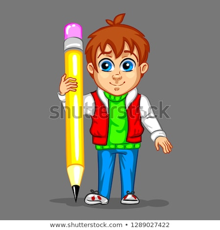 Schoolchild is drawing a man on his notebook with a pencil  Stock photo © zurijeta