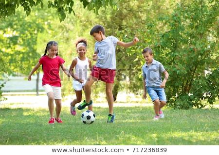 Kid spelen bal weinig silhouet kind Stockfoto © oorka