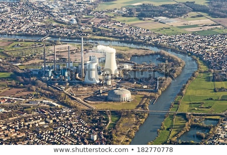 aerial of powerstation in Grosskrotzenburg, Main river Stock photo © meinzahn