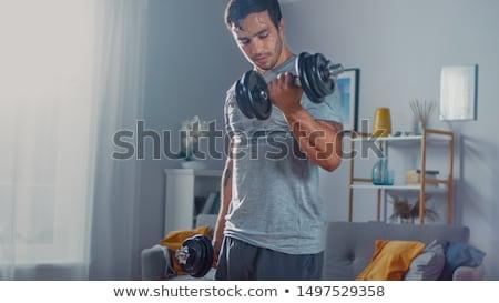 ハンサムな男 · 筋肉の · 胴 · ダンベル · 手 · 男 - ストックフォト © deandrobot