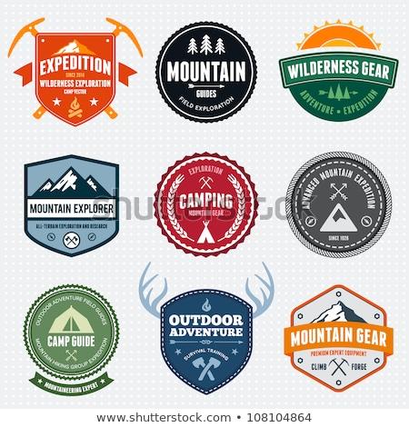 альпинизм Этикетки Логотипы набор красочный скалолазания Сток-фото © Genestro
