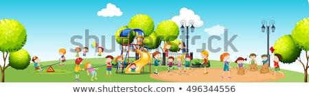 Gyerekek játszik játszótér nappal illusztráció lány Stock fotó © bluering