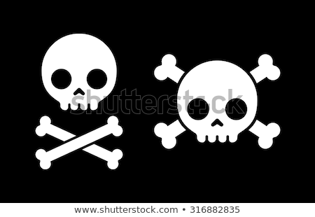 Human skull with bones, simple black icon stock photo © Evgeny89