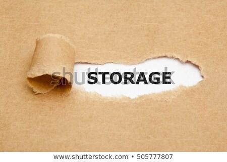 Stoccaggio carta strappata parola dietro strappato carta marrone Foto d'archivio © ivelin